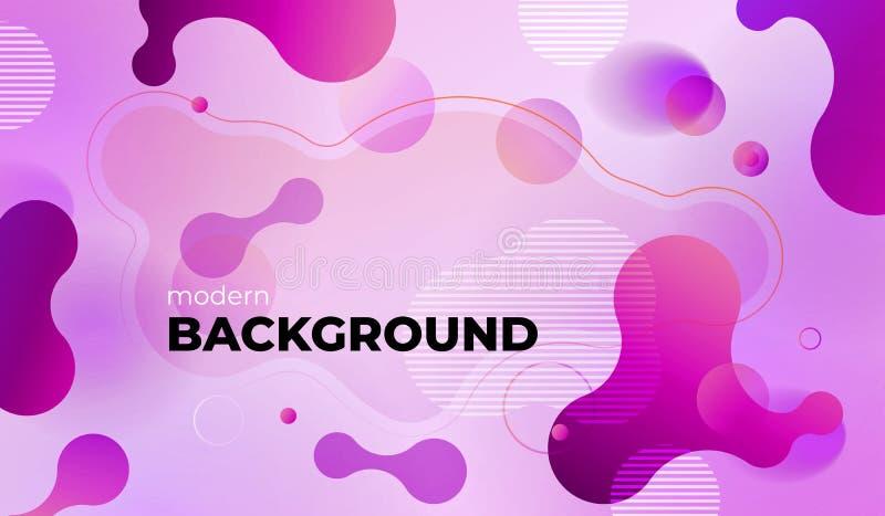 Diseño geométrico colorido del fondo El líquido forma la composición con pendientes de moda Vector Eps10 stock de ilustración