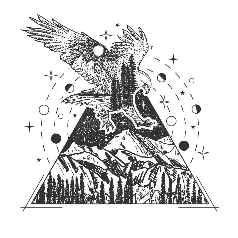 Diseño geométrico creativo del estilo del arte del tatuaje del águila del vector stock de ilustración