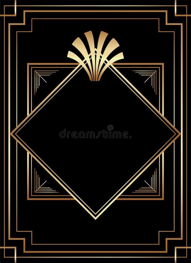 Diseño geométrico de Gatsby Art Deco Style Print Frame ilustración del vector