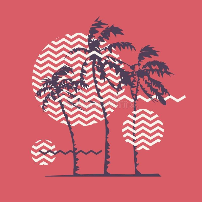 Diseño geométrico de la camiseta gráfica con las palmeras estilizadas en el tema del verano, días de fiesta, playa, costa, zonas  ilustración del vector