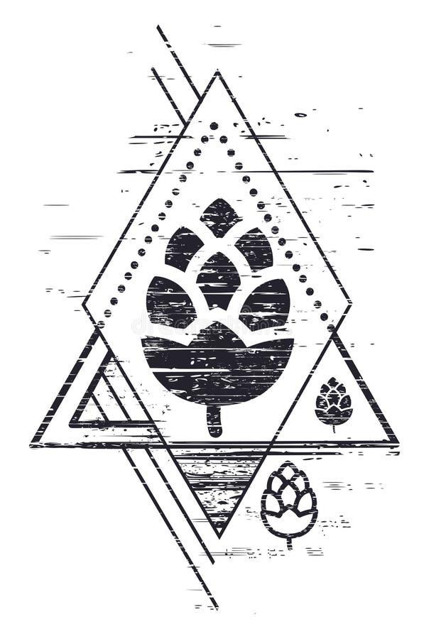 Diseño geométrico de la cerveza del arte con la silueta del salto Componentes de la cerveza Festival de Oktoberfest stock de ilustración