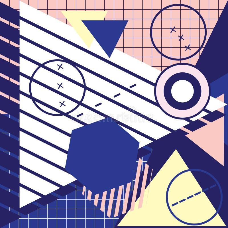 Diseño geométrico de moda de las tarjetas de felicitación de Memphis de los elementos S retro libre illustration