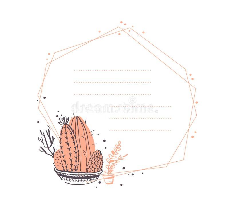 Diseño geométrico del marco del extracto del vector con el cactus en el pote, ramas, arreglos florales de los elementos aisladas  stock de ilustración