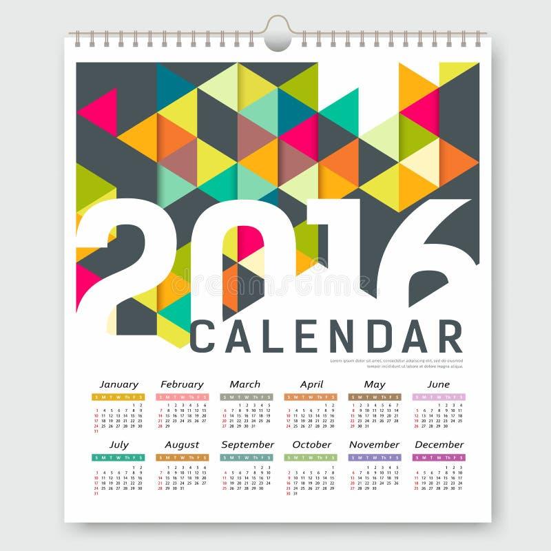 Diseño geométrico del triángulo colorido del calendario 2016 stock de ilustración
