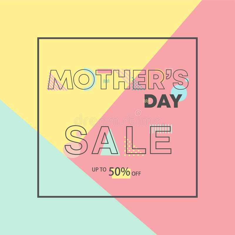 Diseño geométrico feliz del día de madres Alfabeto dibujado mano de la tipografía stock de ilustración