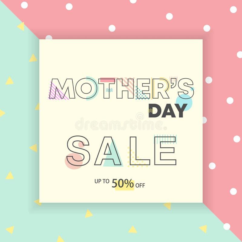 Diseño geométrico feliz del día de madres Alfabeto dibujado mano de la tipografía ilustración del vector