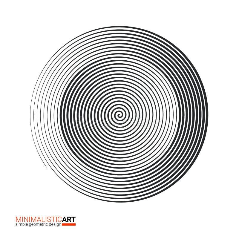 Diseño geométrico moderno, arte minimalistic Forma blanco y negro simple en estilo del bauhaus Espiral concéntrico de semitono ilustración del vector