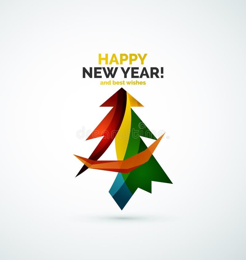Diseño geométrico moderno del árbol de navidad libre illustration