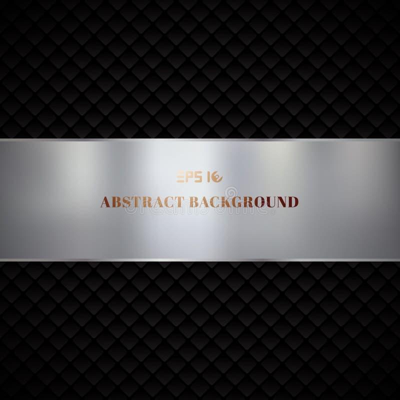 Diseño geométrico negro de lujo del modelo de los cuadrados del extracto en fondo oscuro ilustración del vector