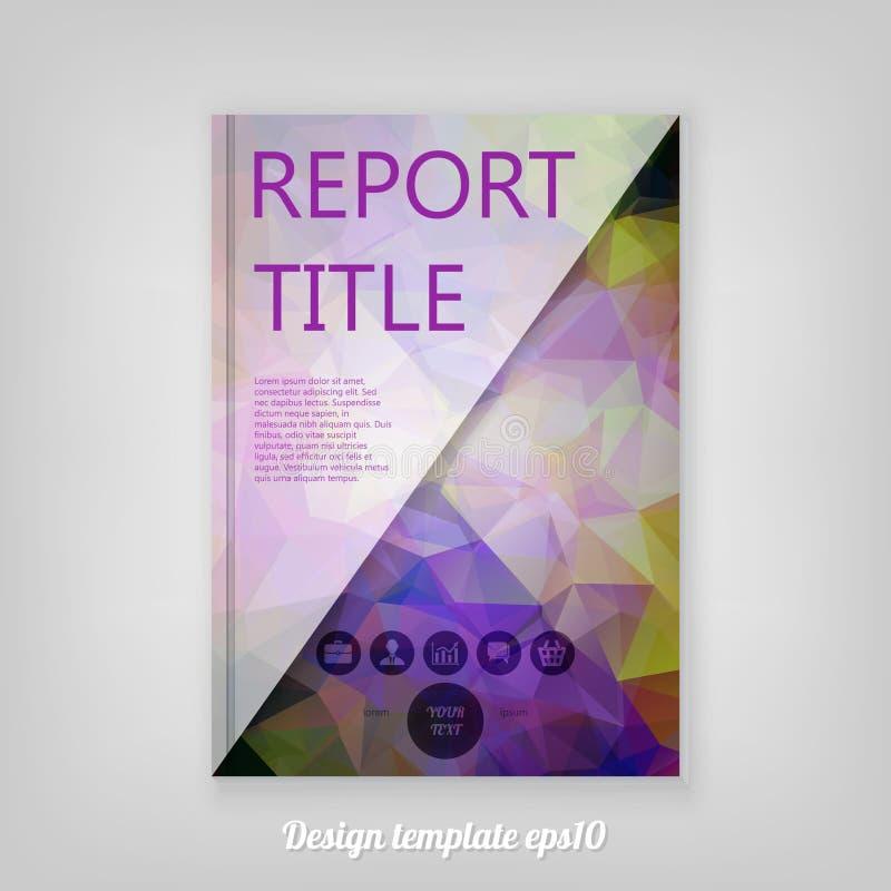 Diseño geométrico púrpura abstracto de la plantilla de la cubierta del informe con tria libre illustration