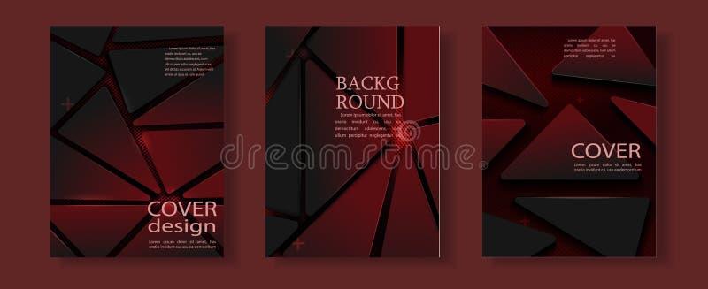 Diseño geométrico rojo del vector del folleto del negocio de la cubierta del aviador, prospecto que hace publicidad del fondo abs stock de ilustración