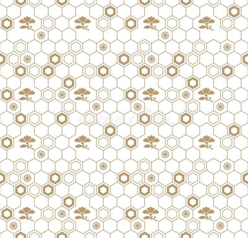 Diseño geométrico tradicional japonés del modelo del vector inconsútil con símbolos de la flor diseño para la materia textil, emp libre illustration
