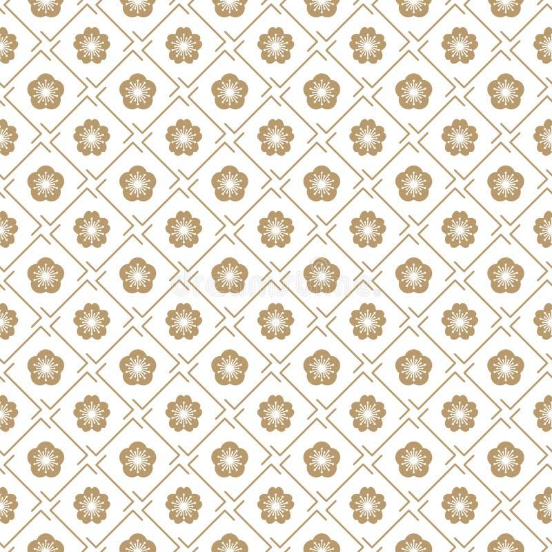 Diseño geométrico tradicional japonés del modelo del vector inconsútil con símbolos de la flor diseño para la materia textil, emp ilustración del vector