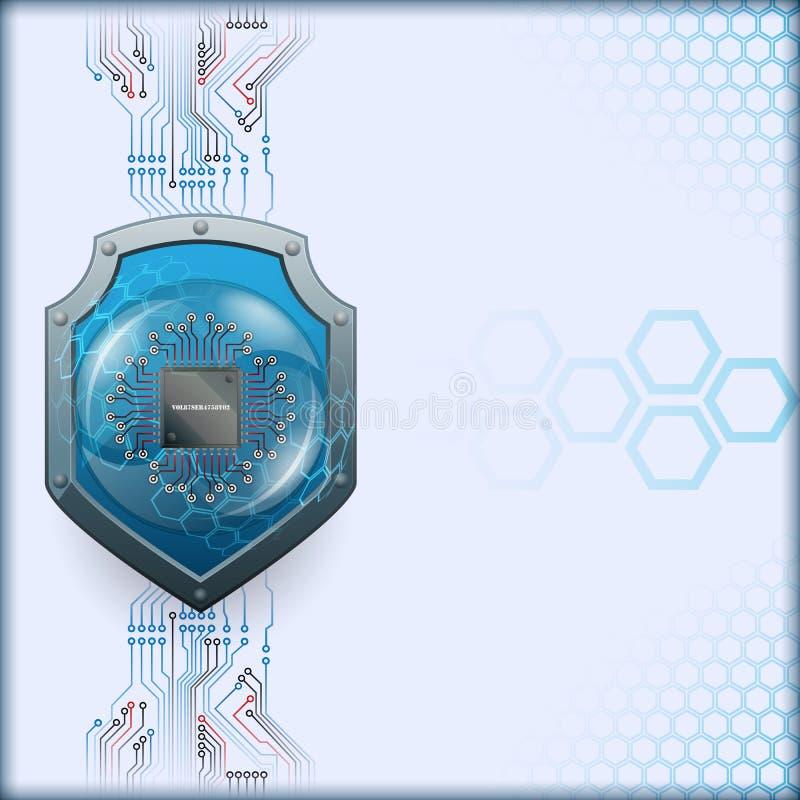 Diseño gráfico abstracto de ordenador con el escudo de la seguridad detrás del microprocesador de procesador ilustración del vector