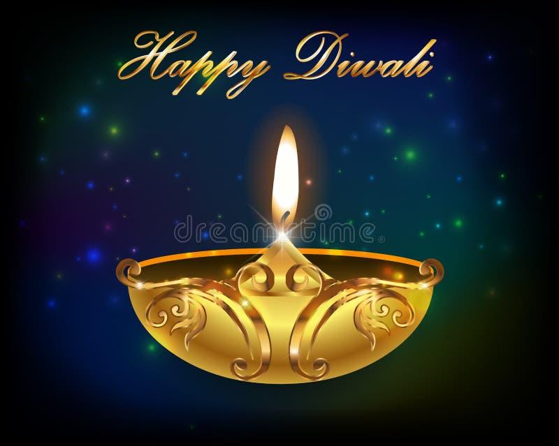 Diseño gráfico de Diwali, diya en fondo del día de fiesta de Diwali stock de ilustración