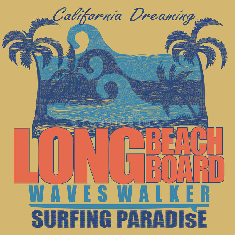 Diseño gráfico de la camiseta de Long Beach que practica surf stock de ilustración