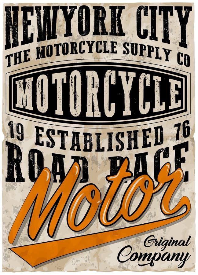 Diseño gráfico de la camiseta del cartel de la motocicleta del vintage libre illustration