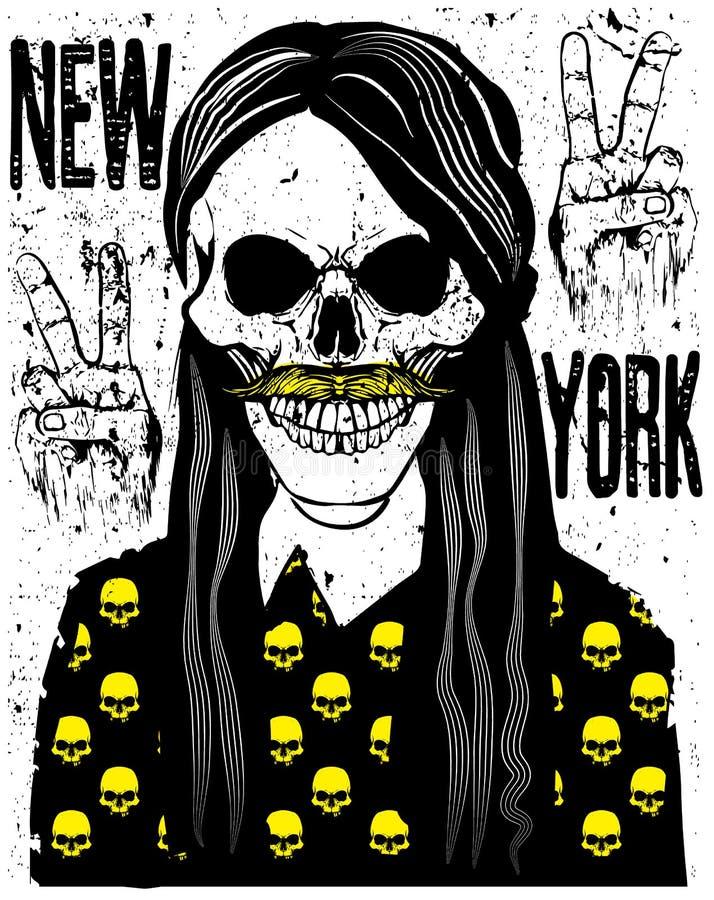 Diseño gráfico de la camiseta del cráneo ilustración del vector