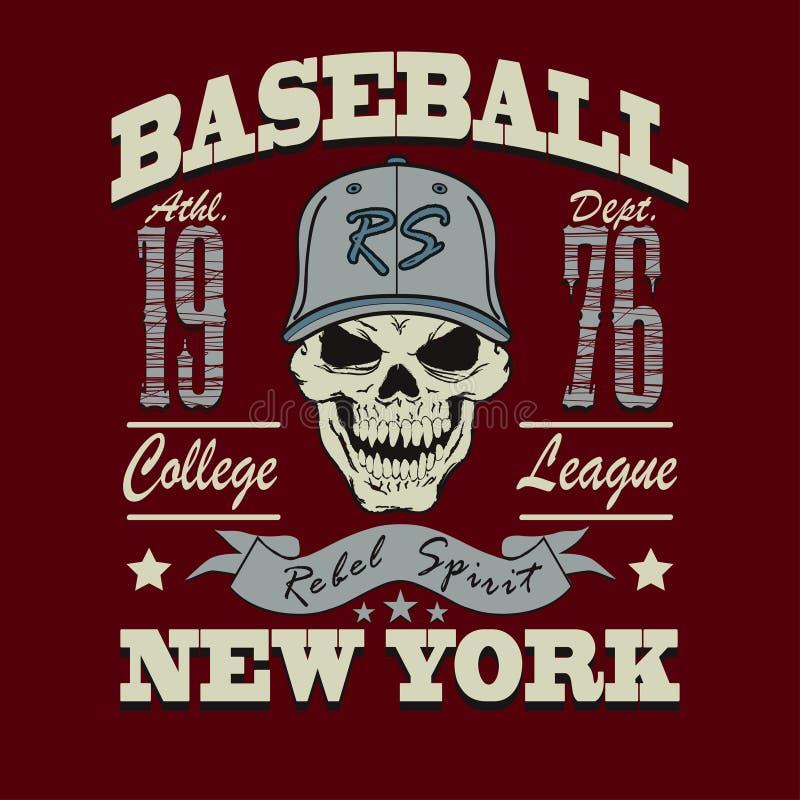 Diseño gráfico de la camiseta del cráneo del béisbol stock de ilustración
