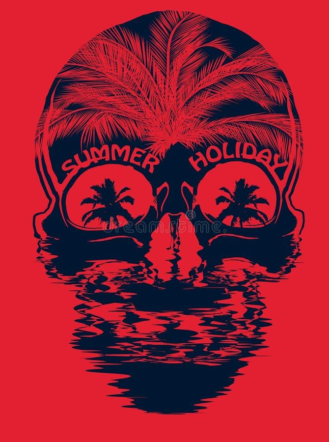 Diseño gráfico de la camiseta del verano del cráneo stock de ilustración