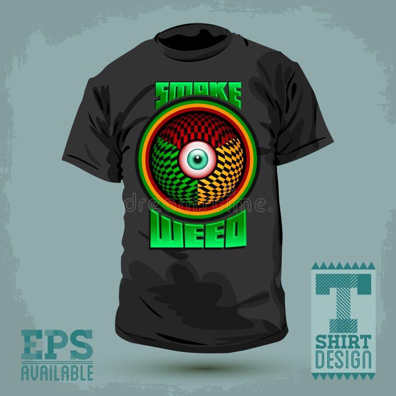 Diseño gráfico de la camiseta - fume la insignia de la mala hierba - icono rojo del ojo stock de ilustración