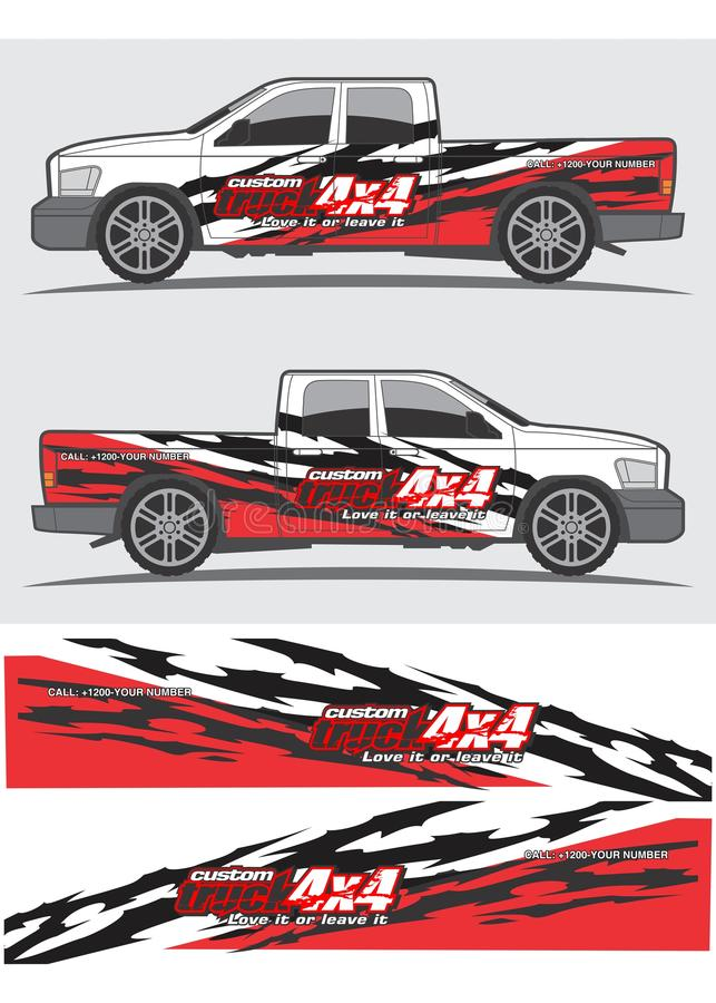 Diseño gráfico de la etiqueta del camión y del vehículo stock de ilustración