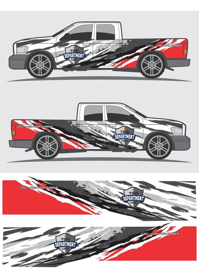 Diseño gráfico de la etiqueta del camión y del vehículo ilustración del vector
