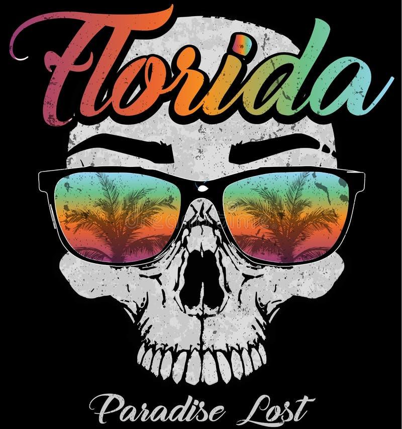 Diseño gráfico de la Florida del cráneo stock de ilustración