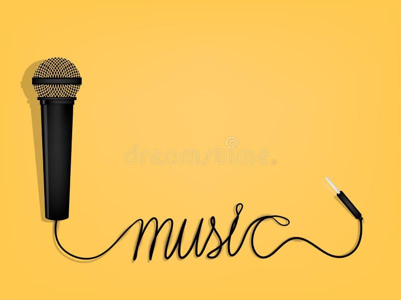 Diseño gráfico de la música, alambre del ` s del micrófono como forma del alfabeto de la música ilustración del vector