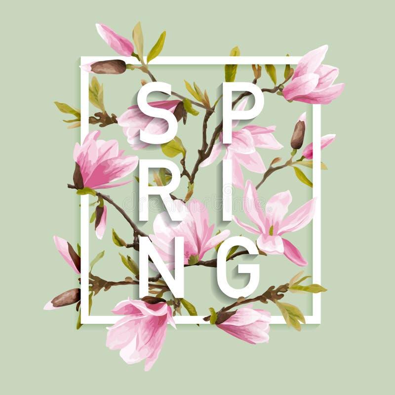 Diseño gráfico de la primavera floral - con las flores de la magnolia ilustración del vector