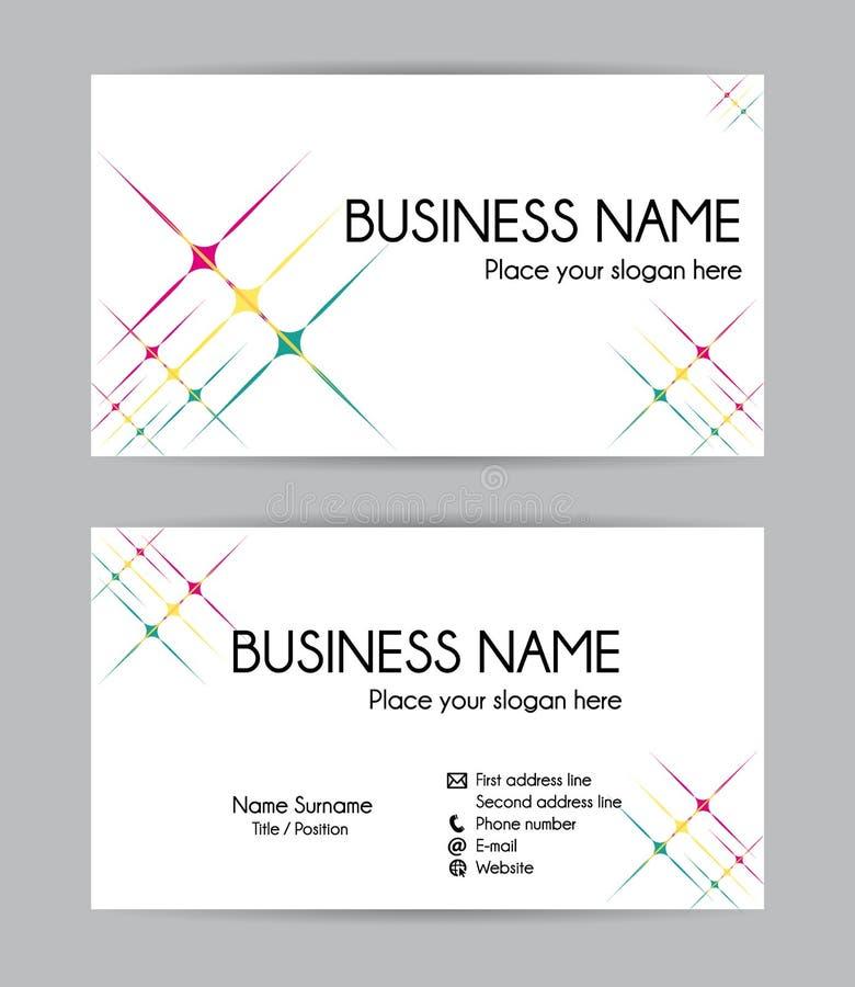 Diseño gráfico de la tarjeta de visita de las estrellas Frente y parte posterior libre illustration
