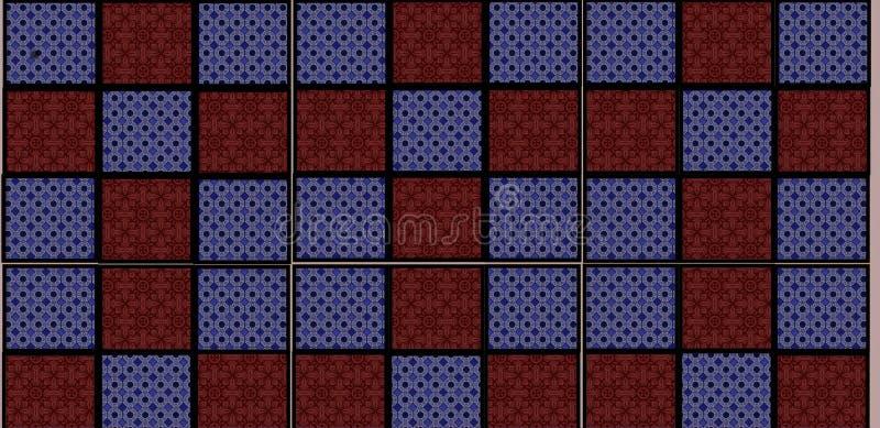 Diseño gráfico de la teja con el fondo rojo y azul para el embaldosado de la pared para la cocina o el pasillo para los edificios stock de ilustración
