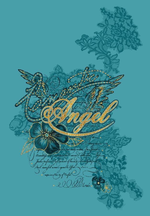 Diseño gráfico de las camisetas de Angel Lace ilustración del vector