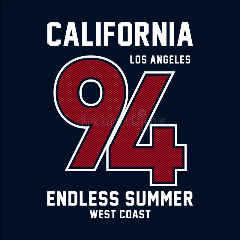 Diseño gráfico de Los Ángeles para la camiseta ilustración del vector