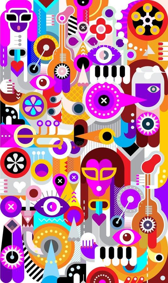 Diseño gráfico de los músicos stock de ilustración