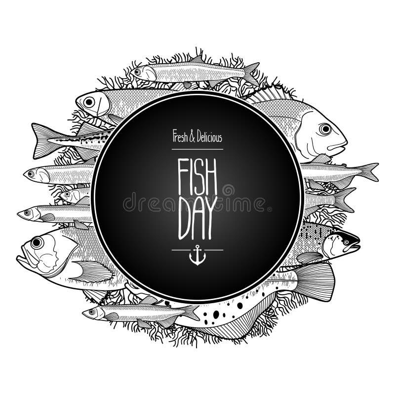 Diseño gráfico de los pescados del océano stock de ilustración