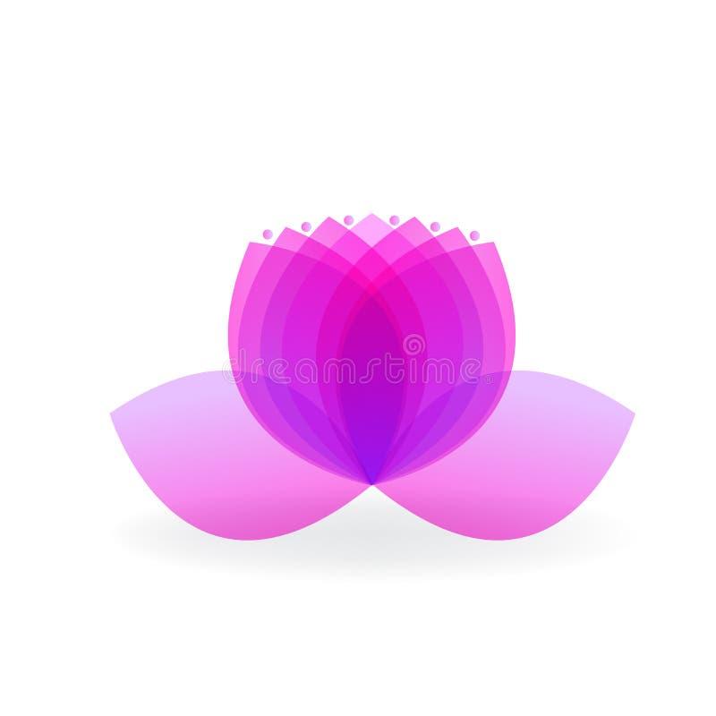 Diseño gráfico de loto del logotipo de la flor del balneario de la yoga del símbolo del vector del ejemplo rosado de la imagen stock de ilustración