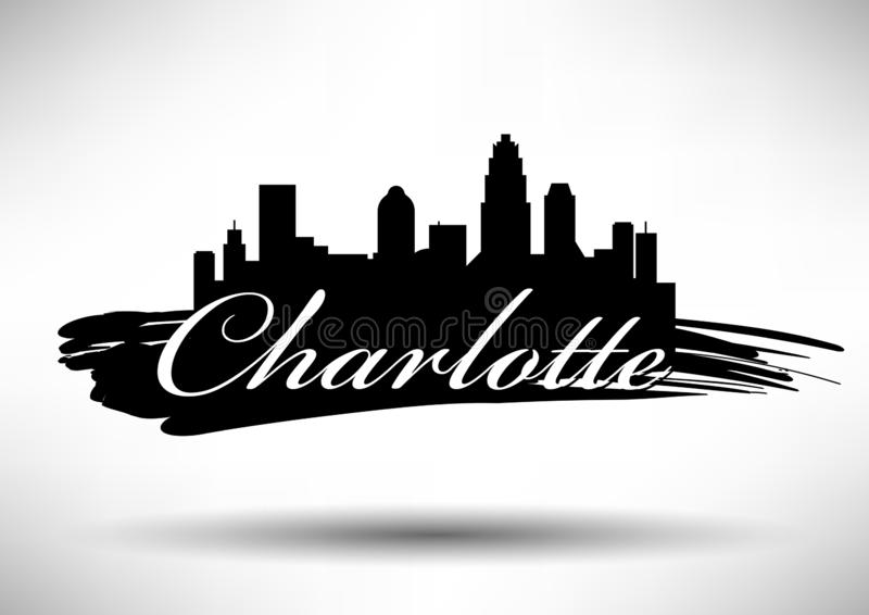 Diseño gráfico de vector de Charlotte City Skyline ilustración del vector