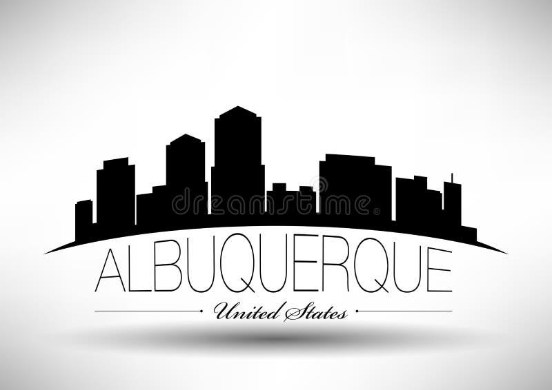 Diseño gráfico de vector de horizonte de la ciudad de Albuquerque ilustración del vector