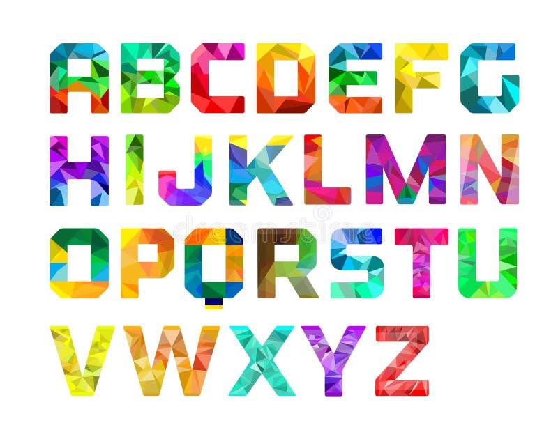 Diseño gráfico del alfabeto colorido ilustración del vector