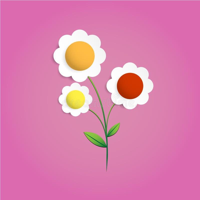 Diseño gráfico del arte digital del vector del papercut de la flor de Multicolors ilustración del vector