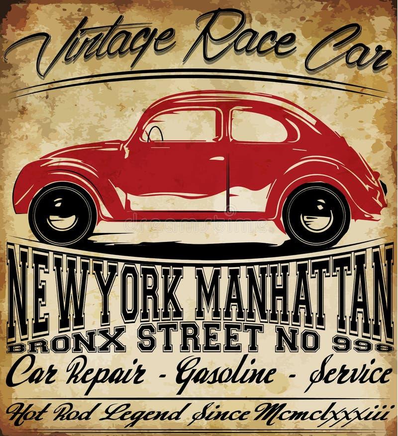 Diseño gráfico del coche del vintage de la camiseta retra clásica vieja del hombre stock de ilustración