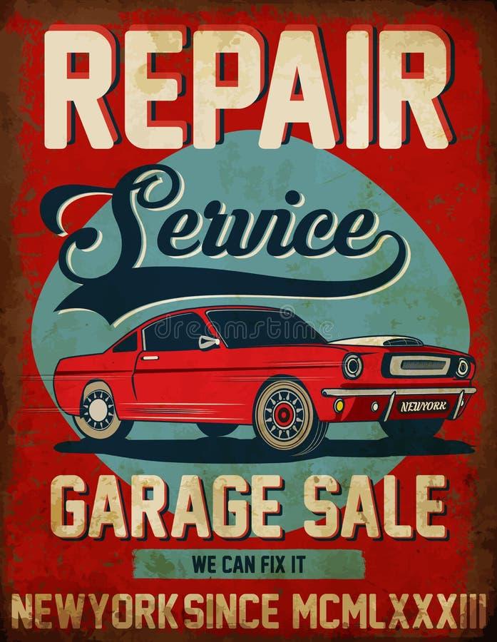 Diseño gráfico del coche del vintage de reparación de la camiseta clásica del servicio stock de ilustración