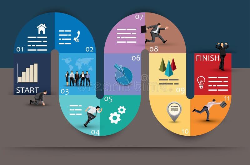 Diseño gráfico del diagrama Curvy creativo del negocio stock de ilustración