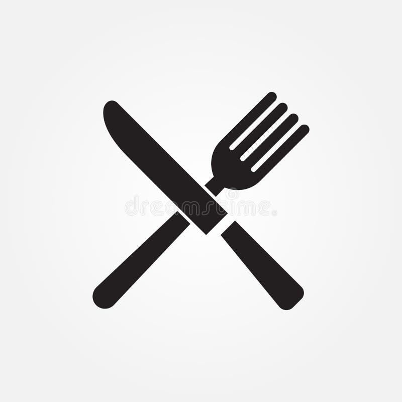 Diseño gráfico del ejemplo del icono del vector del cuchillo de la bifurcación stock de ilustración