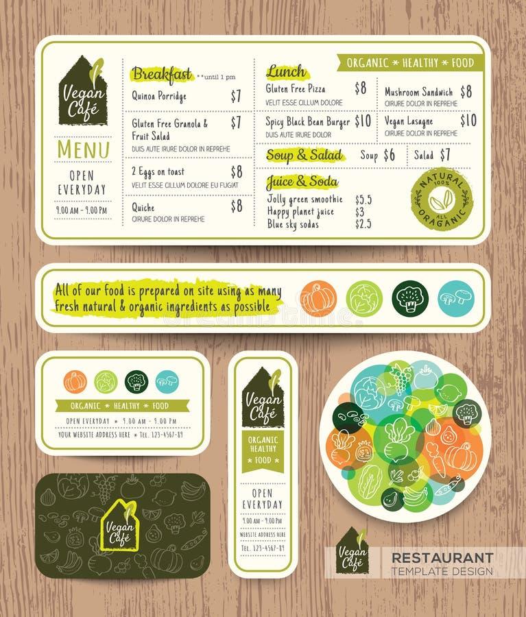 Diseño gráfico del restaurante del vegetariano y del vegano del menú determinado sano del café ilustración del vector
