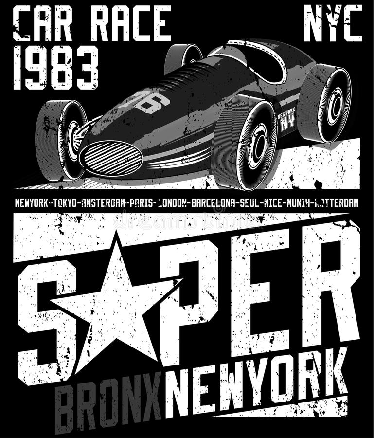 Diseño gráfico del te del coche de deportes ilustración del vector