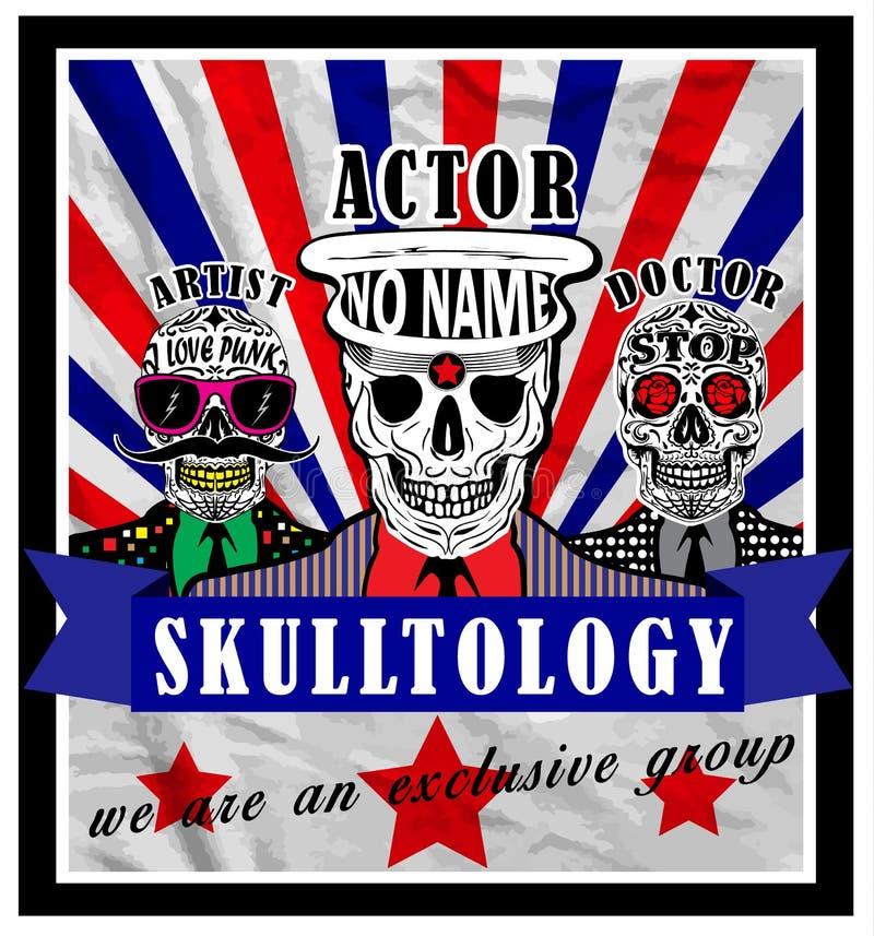 Diseño gráfico del vector de la camiseta del hombre del cartel del cráneo libre illustration