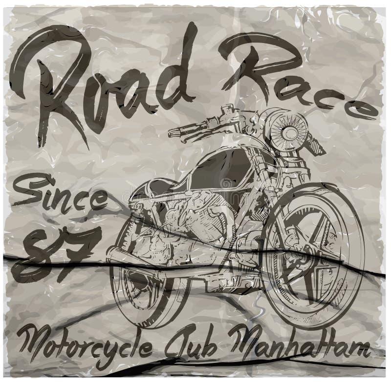 Diseño gráfico dibujado mano de la camiseta del vector de la motocicleta del vintage libre illustration