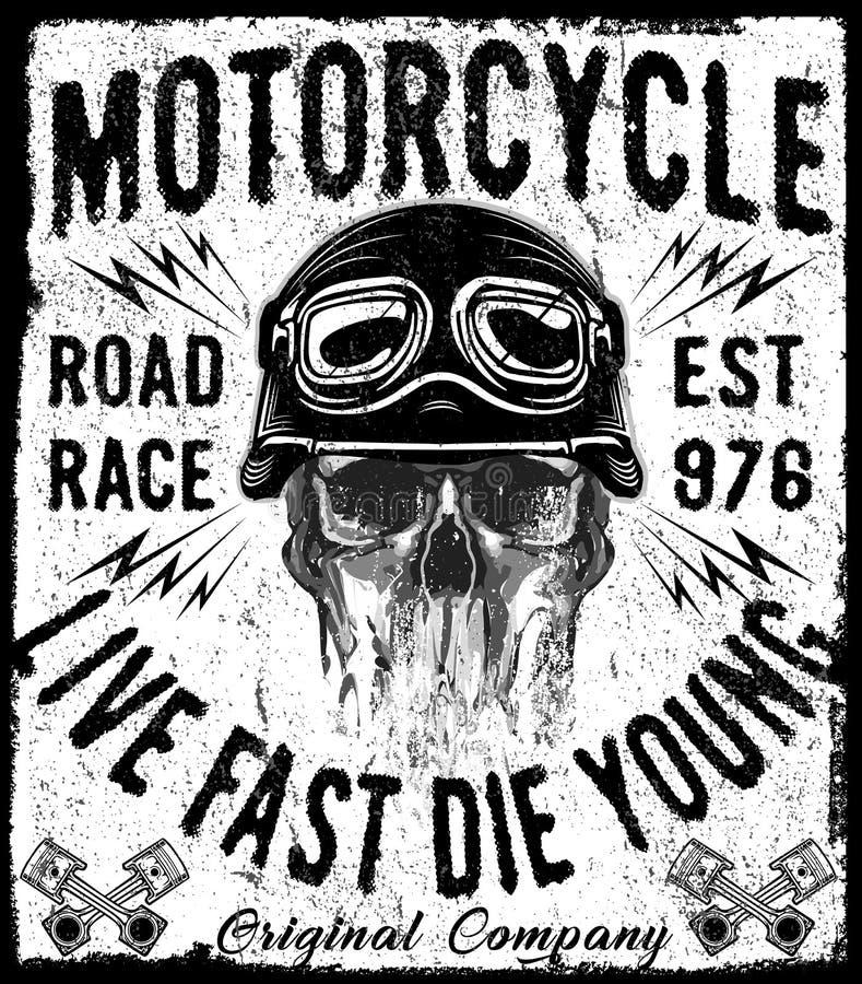 Diseño gráfico dibujado mano de la camiseta del vector de la motocicleta del vintage ilustración del vector